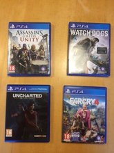 Uncharted 5, Farcry 4, Watch Dogs, Assas