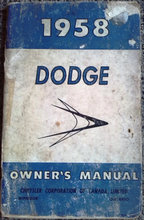 Owners manual, 1958 Dodge.