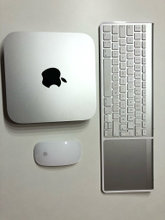 Mac mini, trackpad, keyboard, mouse